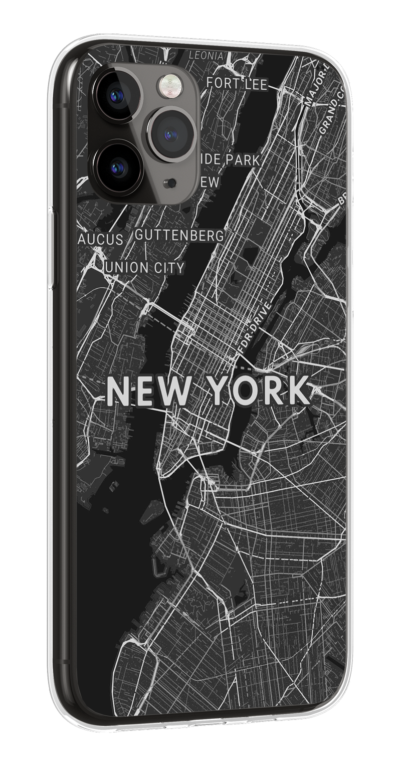 Mapify iPhone Clear Case Gold New York