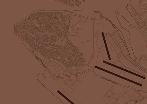 Mapify map style preview. Blueprint Chocolate ice cream style with map of Oakland for use on Mapify map phone cases.